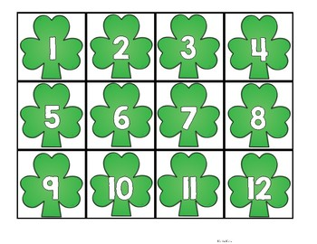 St Patrick's Day Hundreds Chart Number Cards