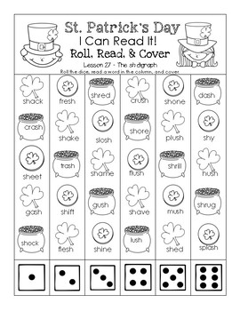 St. Patrick's Day I Can Read It! Roll, Read, and Cover (Lesson 27)