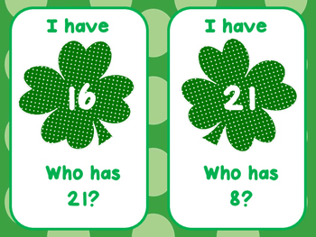St. Patrick's Day - I Have, Who Has (0-25)