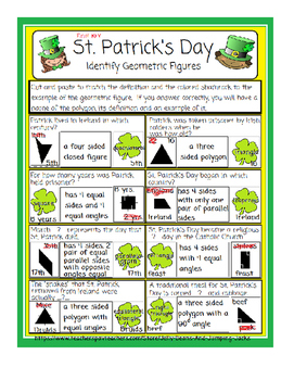 St. Patrick's Day-Identifying Geometric Figures