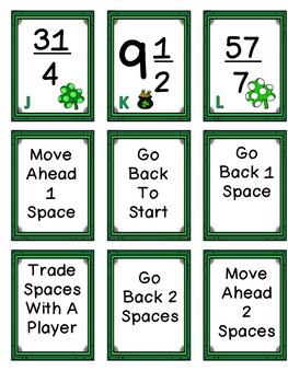 St. Patrick's Day Improper Fraction Board Game