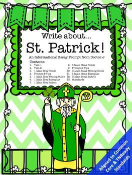 St. Patrick's Day Informational Essay Writing Prompt Commo