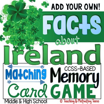 St. Patrick's Day Informational Reading about Ireland with Memory Card Game