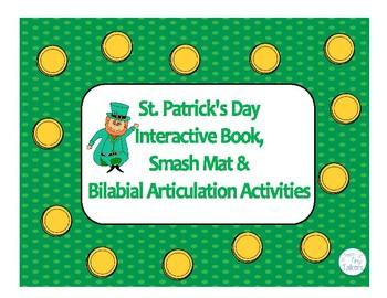 St. Patrick's Day Interactive Book, Smash Mat & Bilabial Articulation Activities