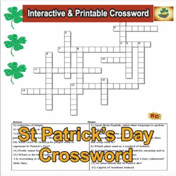 St Patrick's Day Interactive Crossword Grade 5-9