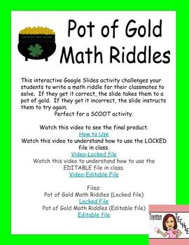 St. Patrick's Day Interactive Google Slide Math Riddle Activity/SCOOT
