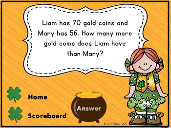 St. Patrick's Day Interactive Math Game 2nd Grade Edition