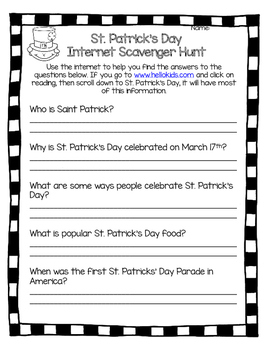 St. Patrick's Day Internet Scavenger Hunt