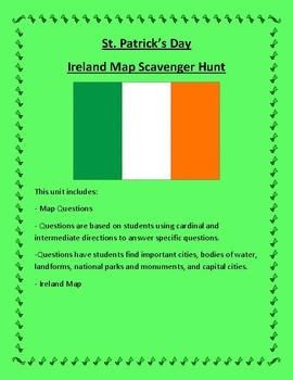 St. Patrick's Day Ireland Map Scavenger Hunt