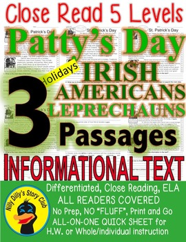 St. Patrick's Day Irish Americans Leprechauns CLOSE READING 5 LEVELED PASSAGES!!
