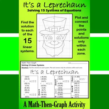 St. Patrick's Day - It's a Leprechaun - Math-Then-Graph - Solve 15 Systems