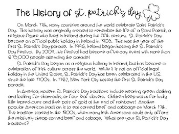 St. Patrick's Day Traditions Activity FREEBIE