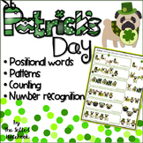 St Patrick's Day Kindergarten Math: Counting Patterns Positional Words with Pugs