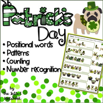 St Patrick's Day Kindergarten Math: Counting Patterns Posi