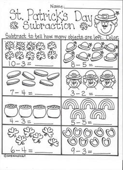st patrick 39 s day kindergarten subtraction fun by noodlzart tpt. Black Bedroom Furniture Sets. Home Design Ideas