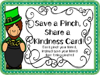 St. Patrick's Day Kindness Cards~No Pinching, Just Sharing