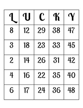 """St Patrick's Day """"LUCKY"""" BINGO- 20 DIFFERENT Boards!"""