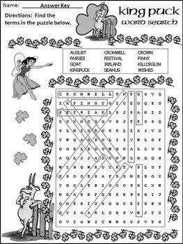St. Patrick's Day Language Arts Activities: King Puck Activity Packet