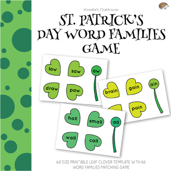 St.Patrick's Day Leaf Clover Word Family Game