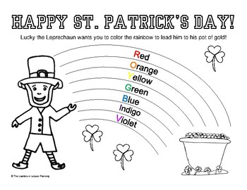 St. Patrick\'s Day Coloring Page Learn the Rainbow Colors - Rainbow Coloring  Page