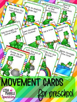 St Patrick's Day Leprechaun Movement Cards for Preschool and Brain Break