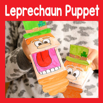 St. Patrick's Day Leprechaun Puppet Template - St. Patrick's day Craft Activity