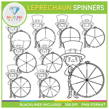 St. Patrick's Day Leprechaun Spinners Clip Art