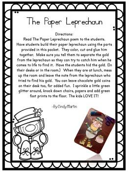 St. Patrick's Day Writing and Crafts - Leprechaun Unit