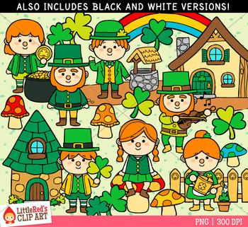 St. Patrick's Day Leprechaun Village Clip Art