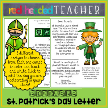 St. Patrick's Day Letter Home EDITABLE