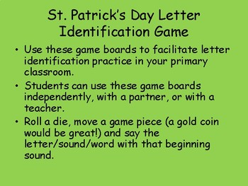 St. Patrick's Day Letter Identification Game