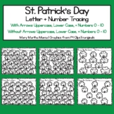 St. Patrick's Day Letter + Number Tracing Worksheets