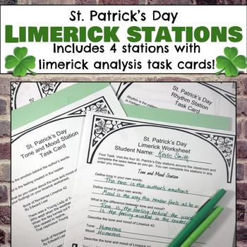 St. Patrick's Day Limerick Analysis Stations, Task Cards, and Limerick Writing
