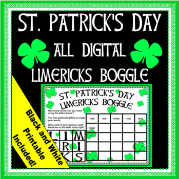 St. Patrick's Day Limericks Boggle -Digital  and Printable