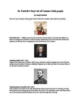 St. Patrick's Day List of Famous Irish People