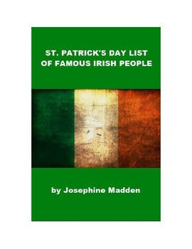 St. Patrick's Day List of Famous Irish People