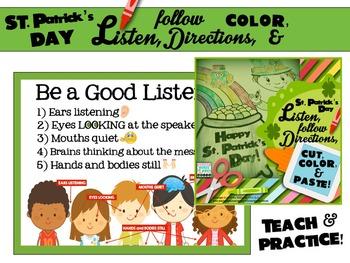 St. Patrick's Day Listen, Follow Directions, Cut, Color & Paste!