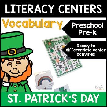 St. Patrick's Day Lit Centers: Vocabulary for Preschool, PreK, K & Homeschool