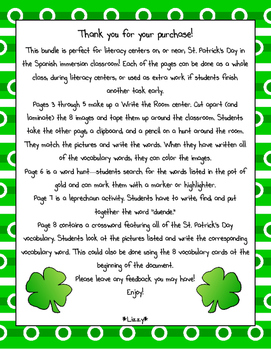 St. Patrick's Day Literacy Center Activities in Spanish