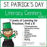 St. Patrick's Day Literacy Centers Bundle for Preschool, PreK, K &. Homeschool