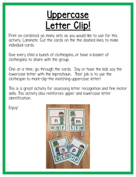 St. Patrick's Day Literacy Centers: Letters for Preschool, PreK, K & Homeschool