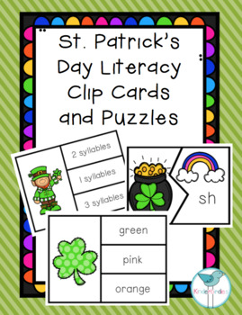 St. Patrick's Day Literacy Clip Cards and Puzzles