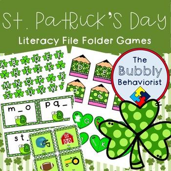 St. Patrick's Day Literacy File Folder Games
