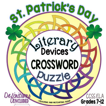 St. Patrick's Day Literary Devices & Terms Crossword Puzzle ELA 8 - High School