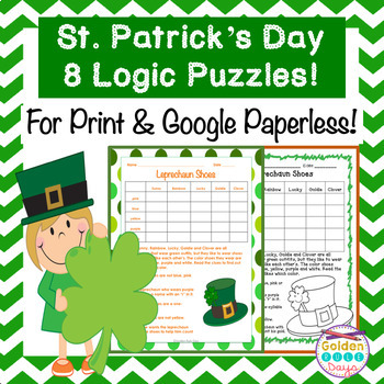 St. Patrick's Day Logic Puzzles For Print or Google Classroom! Critical Thinking