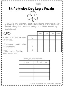 image relating to St Patrick Day Puzzles Printable Free referred to as St. Patricks Working day Logic Puzzles Absolutely free