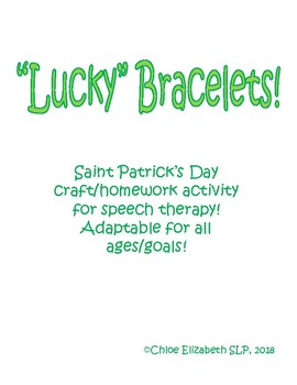 """St. Patrick's Day """"Lucky"""" Bracelets For Speech Therapy!"""
