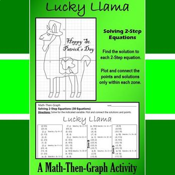St. Patrick's Day - Lucky Llama - A Math-Then-Graph Activity - Solve 2-Step EQ.