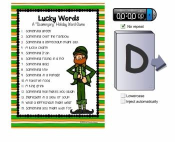 "St. Patrick's Day ""Lucky Words"" Scattergory-Type Holiday Game"