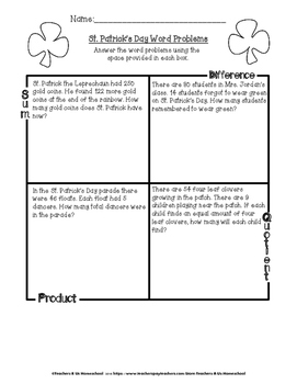 St. Patrick's Day MATH Activities 3rd & 4th Grade